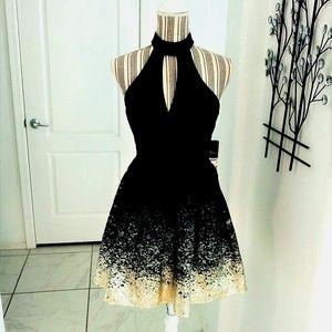B Darlin Fit Flare Lace Halter Dress Sexy XS
